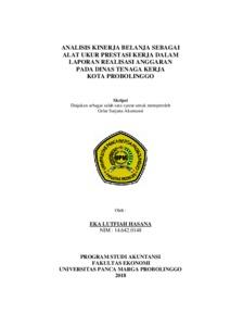 Analisis Kinerja Belanja Sebagai Alat Ukur Prestasi Kerja Dalam Laporan Realisasi Anggaran Pada Dinas Tenaga Kerja Kota Probolinggo Repository Universitas Panca Marga
