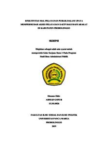 Efektivitas Mal Pelayanan Publik Dalam Upaya Mempermudah Akses Pelayanan E Ktp Bagi Masyarakat Di Kabupaten Probolinggo Repository Universitas Panca Marga
