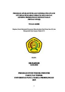 Program Aplikasi Penilaian Kinerja Pegawai Di Upt Dinas Pengairan Sebaung Kecamatan Gending Probolinggo Menggunakan Php Dan Mysql Repository Universitas Panca Marga